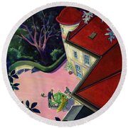 Painting Of A House With A Patio Round Beach Towel