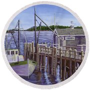 Fishing Boat Docked In Boothbay Harbor Maine Round Beach Towel by Keith Webber Jr