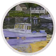 Fishing Boats In Port Clyde Maine Round Beach Towel by Keith Webber Jr