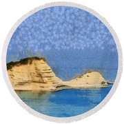 Islet In Peroulades Area Round Beach Towel