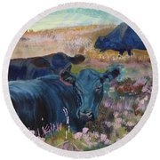 Painting Of Three Black Cows In Landscape Without Sky Round Beach Towel