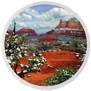 Painting Secret Mountain Wilderness Sedona Arizona Round Beach Towel