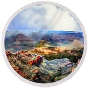 Painting The Grand Canyon Round Beach Towel