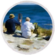 Painting The View Round Beach Towel