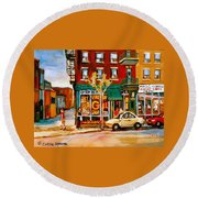 Paintings Of  Famous Montreal Places St. Viateur Bagel City Scene Round Beach Towel