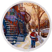 Paintings Of Montreal Beautiful Staircases In Winter Walking Home After The Game By Carole Spandau Round Beach Towel