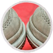 Pair Of Shoes Round Beach Towel