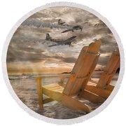 Pairs Along The Coast Round Beach Towel by Betsy Knapp
