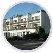 Paivola Building In Sunila Round Beach Towel