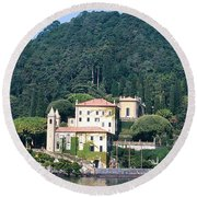 Round Beach Towel featuring the photograph Palace At Lake Como Italy by Greta Corens