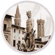Palazzo Vecchio Statue Round Beach Towel