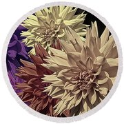 Pale Dahlias Round Beach Towel