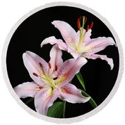 Pale Pink Asiatic Lilies Round Beach Towel by Judy Whitton