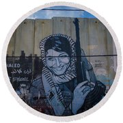 Palestinian Graffiti Round Beach Towel