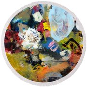 Palette Abstract Round Beach Towel by Michelle Calkins