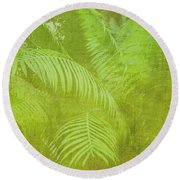 Palm Leaves Botanical Abstract Round Beach Towel