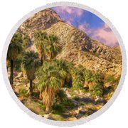 Palm Oasis In Late Afternoon Round Beach Towel