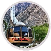 Palm Springs Tram 2 Round Beach Towel