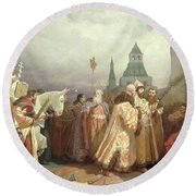 Palm Sunday Procession Under The Reign Of Tsar Alexis Romanov Round Beach Towel