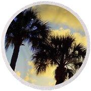 Palm Sunrise Round Beach Towel