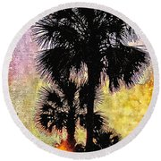 Palm Sunset Round Beach Towel by Kathy Bassett