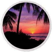 Palm Tree Sunset In Paradise Round Beach Towel