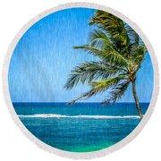 Palm Tree Swaying Round Beach Towel