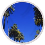 Palm Trees Along A Road, Beverly Hills Round Beach Towel by Panoramic Images