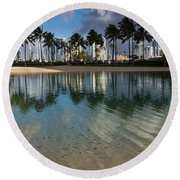 Palm Trees Crystal Clear Lagoon Water And Tropical Fish Round Beach Towel