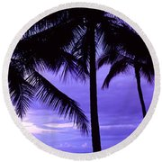 Palm Trees On The Coast, Colombia Round Beach Towel