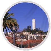 Palm Trees With Coit Tower Round Beach Towel