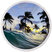 Palm Wave Round Beach Towel
