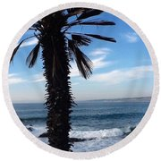 Palm Waves Round Beach Towel by Susan Garren