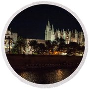 Palma Cathedral Mallorca At Night Round Beach Towel