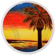 Palmetto Moon And Stars Round Beach Towel