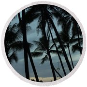 Palms At Dusk Round Beach Towel by Suzanne Luft