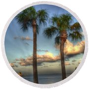 Palms At The Pier Round Beach Towel