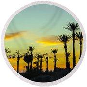 Palm Trees At Dawn Round Beach Towel