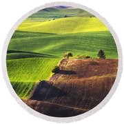 Palouse In Contrast Round Beach Towel