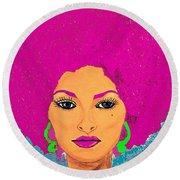 Pam Grier Bold Diva C1979 Pop Art Round Beach Towel
