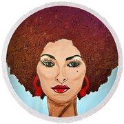 Pam Grier C1970 The Original Diva Round Beach Towel