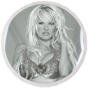 Round Beach Towel featuring the digital art Pamela Anderson - Angel Rays Of Light by Absinthe Art By Michelle LeAnn Scott