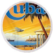 Pan Am Cuba  Round Beach Towel