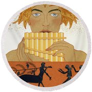 Pan Piper Round Beach Towel by Georges Barbier