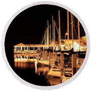 Panama City Marina Round Beach Towel by Debra Forand
