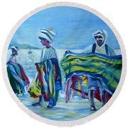 Round Beach Towel featuring the painting Panama.beach Market by Anna  Duyunova