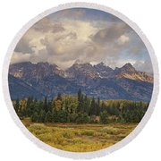 Round Beach Towel featuring the photograph Panaroma Clearing Storm On A Fall Morning In Grand Tetons National Park by Dave Welling