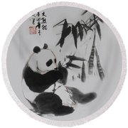 Round Beach Towel featuring the photograph Panda And Bamboo by Yufeng Wang