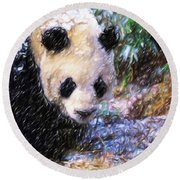 Round Beach Towel featuring the painting Panda Bear Walking In Forest by Lanjee Chee