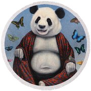 Panda Buddha Round Beach Towel by James W Johnson